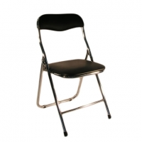 black-chrome-padded-folding-chair