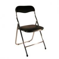 black-chrome-padded-folding-chair
